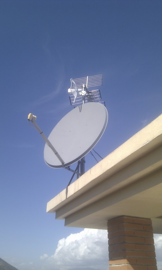 Satellite dish in place and working.